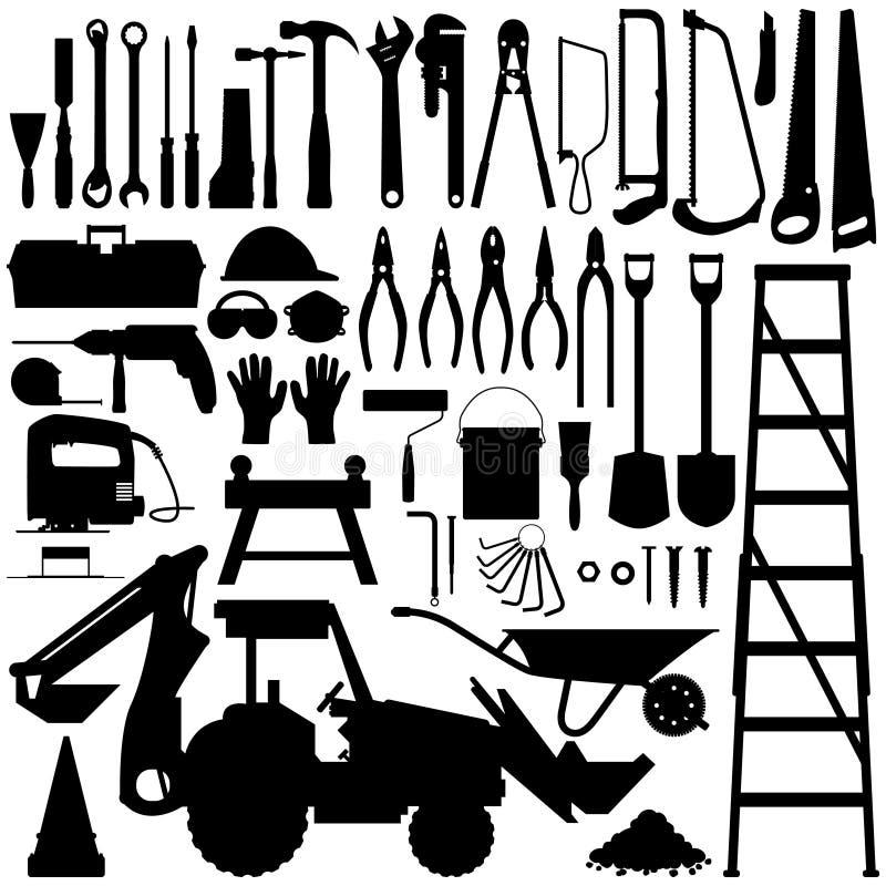 Vetor da silhueta da ferramenta da construção ilustração royalty free