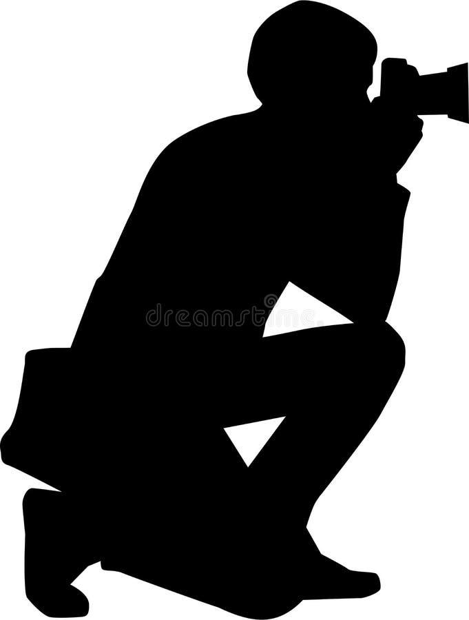 Vetor da silhueta do fotógrafo ilustração stock