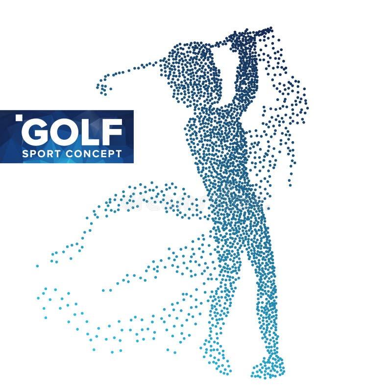Vetor da silhueta do jogador de golfe Pontos da reticulação do Grunge Atleta In Action do golfe Partículas de voo Bandeira do esp ilustração stock