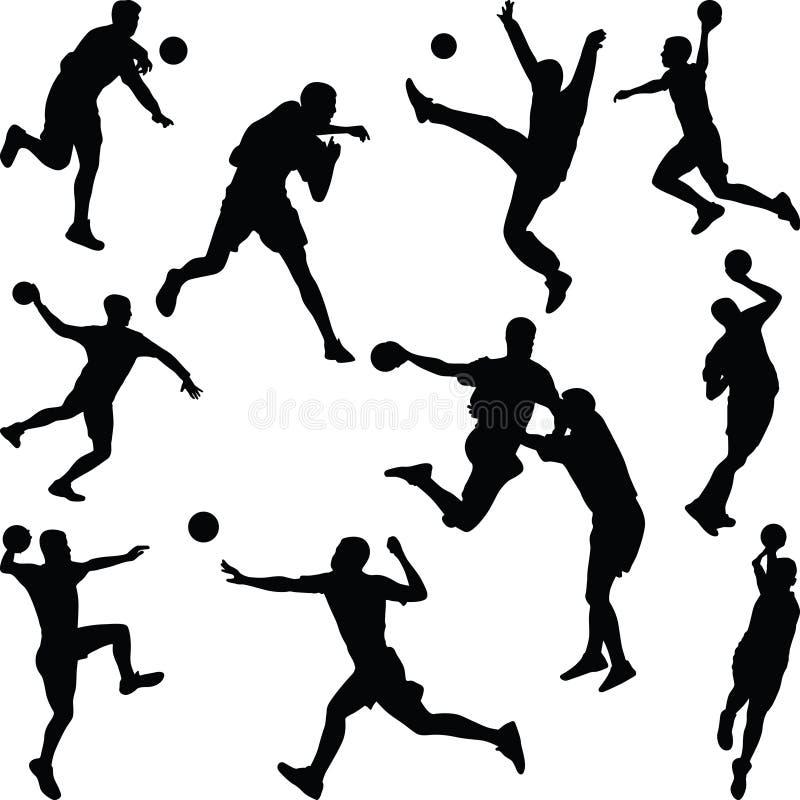 Vetor da silhueta do jogador do handball fotografia de stock