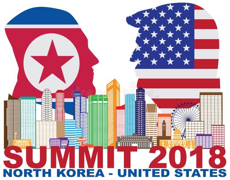 Vetor da silhueta do presidente Trunfo Kim Jong Un Singapore Summit 2018 ilustração do vetor