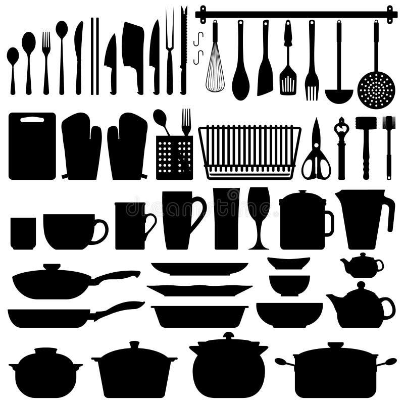 Vetor da silhueta dos utensílios da cozinha ilustração stock