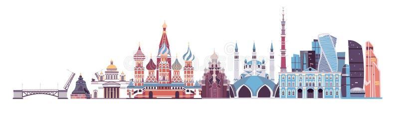 Vetor da skyline de Rússia palácio do Kremlin do marco, torre da tevê e ilustração da catedral do St Isaac ilustração stock