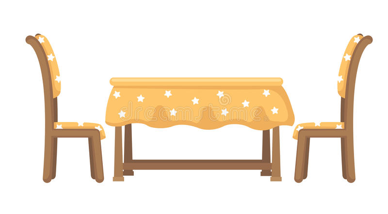 Vetor da tabela e das cadeiras ilustração stock