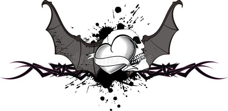Vetor da tatuagem das asas do bastão do crânio do coração ilustração do vetor