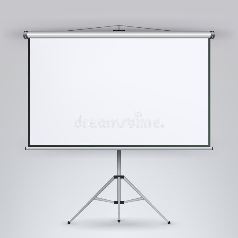 Vetor da tela do projetor da reunião Conferência da apresentação da placa branca com tripé Placa branca vazia no tripé para a con ilustração do vetor