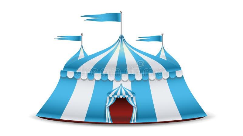 Vetor da tenda do circus dos desenhos animados Listras azuis e brancas Funfair, ilustração do conceito dos feriados do carnaval ilustração do vetor