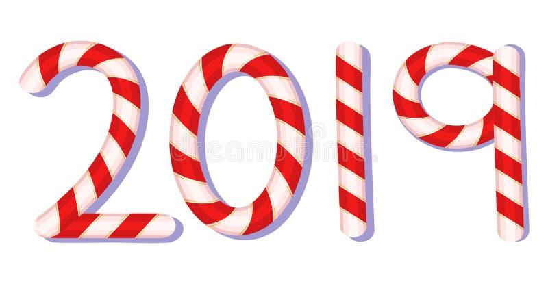 2019 vetor da tipografia do bastão de doces, vetor do ano novo ilustração stock