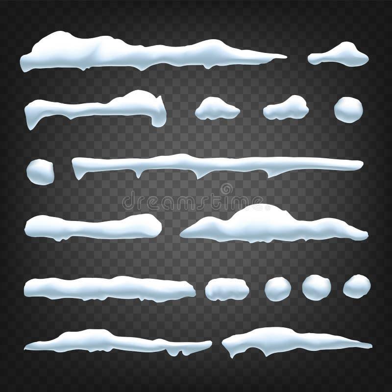 Vetor da tração da neve Projeto do Natal dos feriados Gelo congelado Tampão da neve snowball Ilustração isolada ilustração royalty free
