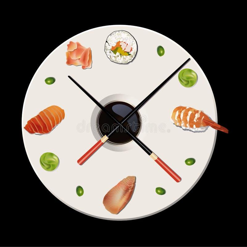 Vetor das épocas do sushi ilustração do vetor