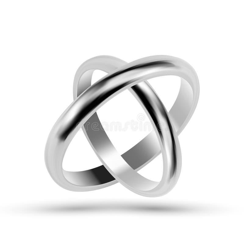 Vetor das alianças de casamento da prata ou da joia da platina ilustração stock