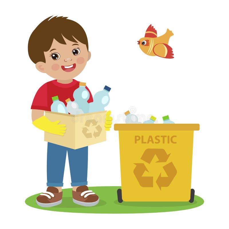 Vetor das atividades das crianças Ilustração do tema da ecologia Menino que recolhe o lixo e o desperdício plástico para reciclar ilustração do vetor