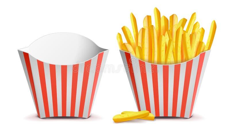 Vetor das batatas de batatas fritas Caixa vermelha listrada clássica do Livro Branco Vazio e completamente Isolado na ilustração  ilustração stock