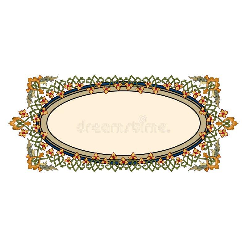 Vetor das beiras do Velho Mundo - quadro telhado no estilo elegante decorativo da estrutura das folhas e das flores da planta ilustração royalty free