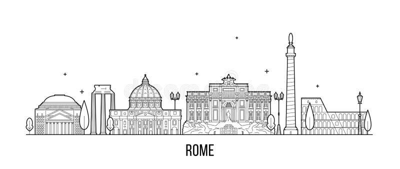 Vetor das construções da cidade de Itália da skyline de Roma ilustração do vetor
