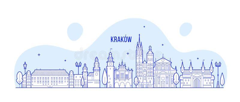 Vetor das construções da cidade do Polônia da skyline de Krakow linear ilustração stock