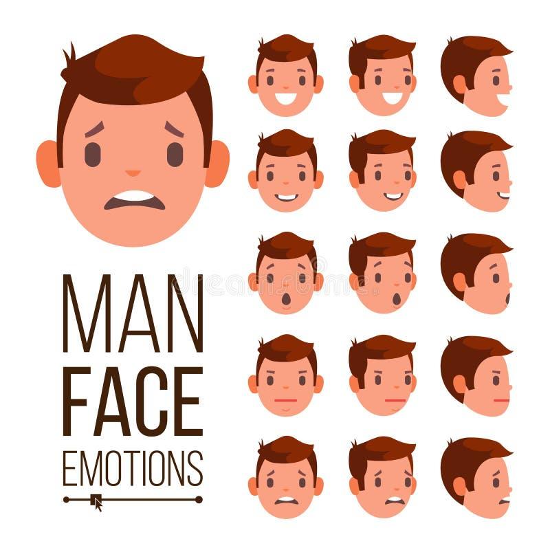 Vetor das emoções do homem Expressões masculinas diferentes do Avatar da cara ajustadas Grupo emocional para a animação Desenhos  ilustração stock