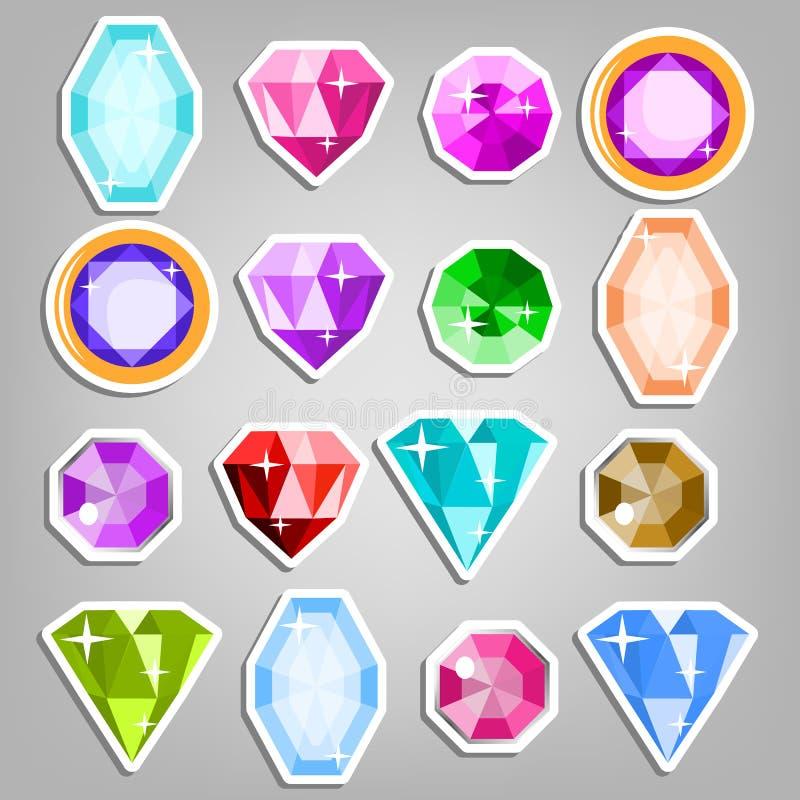 Vetor das gemas do grupo colorido Ícones realísticos brilhantes de pedras preciosas Cortes e cores diferentes Ilustração ilustração royalty free