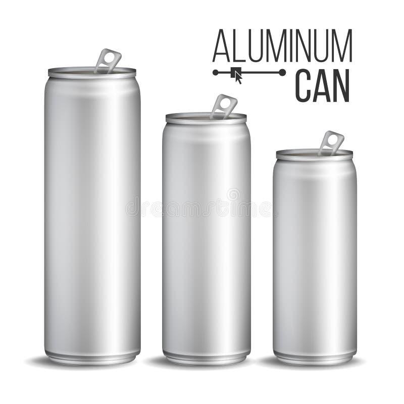 Vetor das latas de alumínio Lata da prata Projeto de marcagem com ferro quente A placa pode cerveja do refresco Ilustração isolad ilustração do vetor