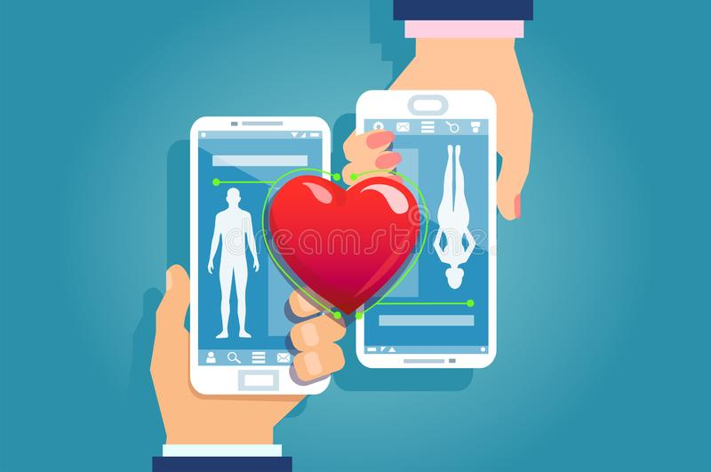Vetor das mãos masculinas e fêmeas que guardam os smartphones que combinam seus perfis móveis do app dos meios sociais ilustração do vetor