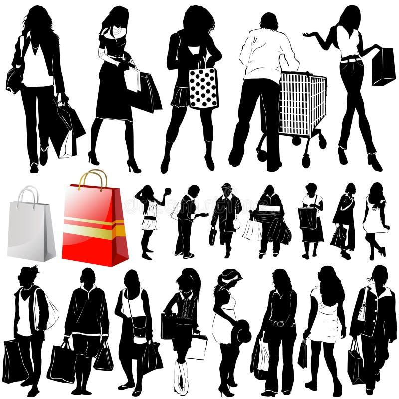 Vetor das mulheres da compra (detalhe da roupa) ilustração stock