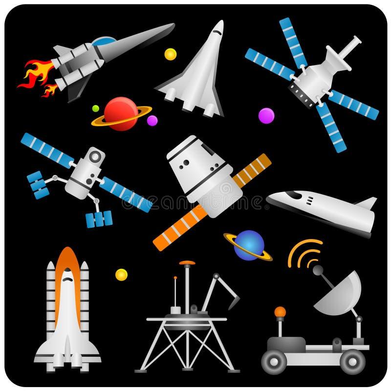 Vetor das naves espaciais e dos satélites ilustração stock