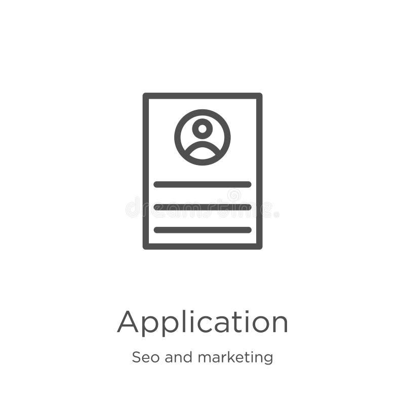 Vetor de ícone de aplicativo da coleção de marketing e seleção Ilustração vetorial do ícone do outline do aplicativo de linha fin ilustração royalty free