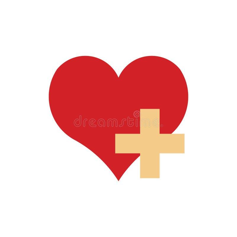 Vetor de ícone de coração e sinal de mais ilustração royalty free