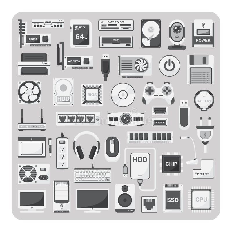 Vetor de ícones lisos, grupo do computador ilustração do vetor