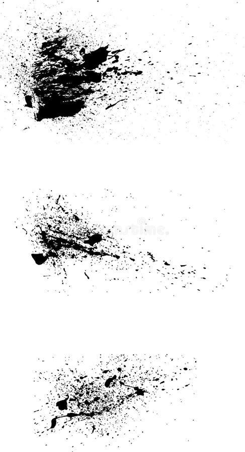 vetor de 3 spatters da pintura do grunge imagem de stock