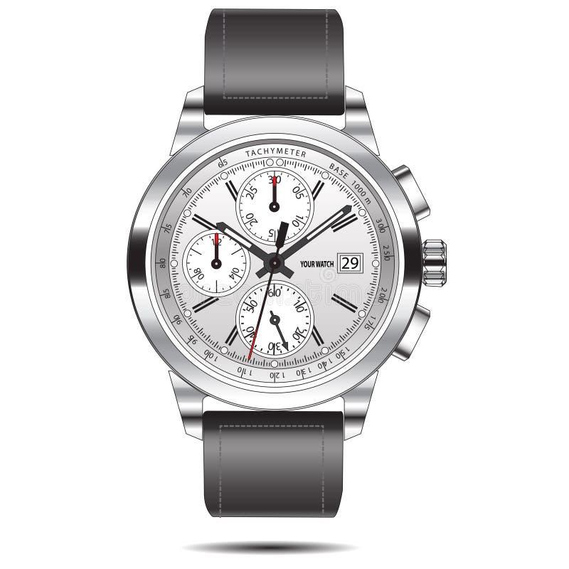 Vetor de aço inoxidável do cronógrafo do relógio ilustração royalty free