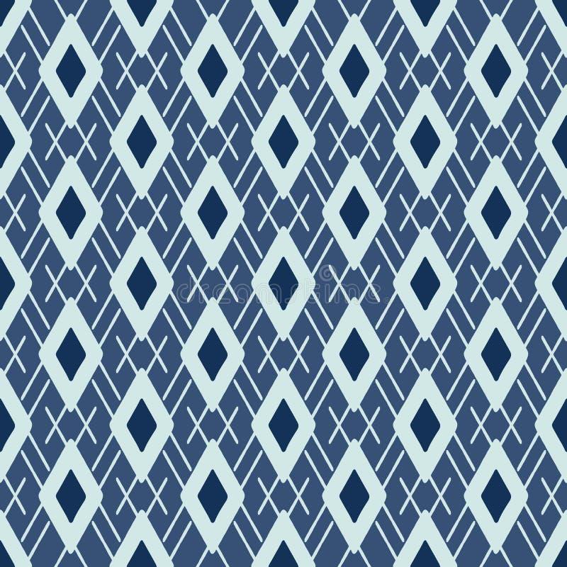Vetor de Argyle Pattern Japanese Style Seamless Diamante tirado mão do azul de índigo ilustração do vetor