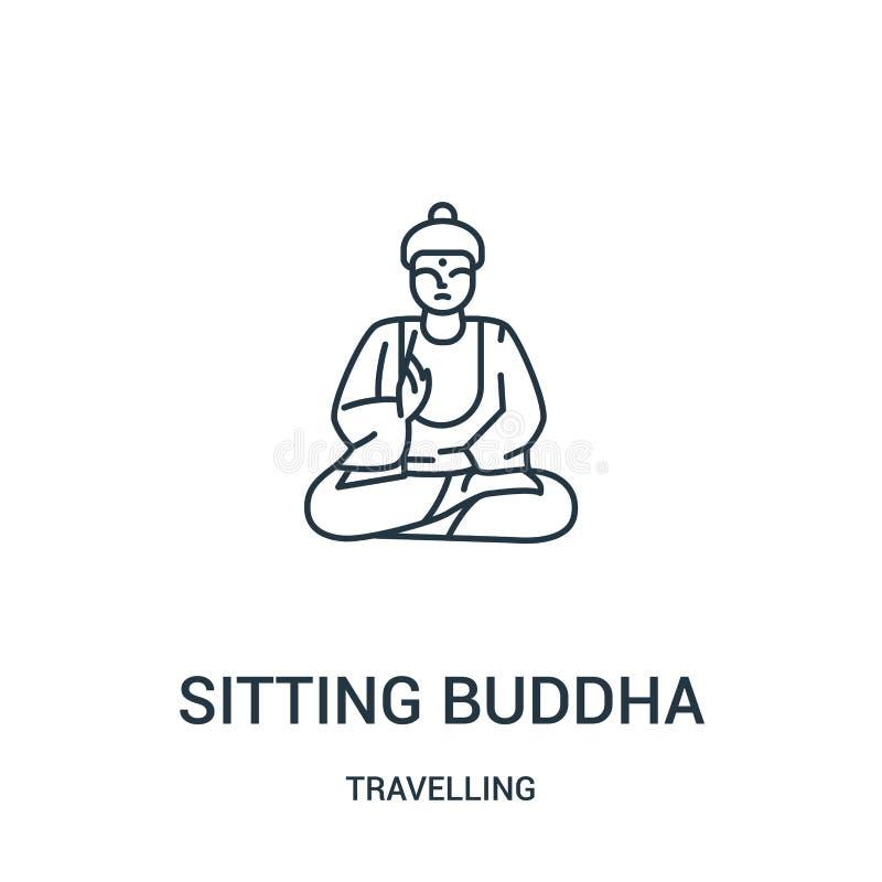 vetor de assento do ícone de buddha da coleção de viagem Linha fina que senta a ilustração do vetor do ícone do esboço de buddha  ilustração do vetor