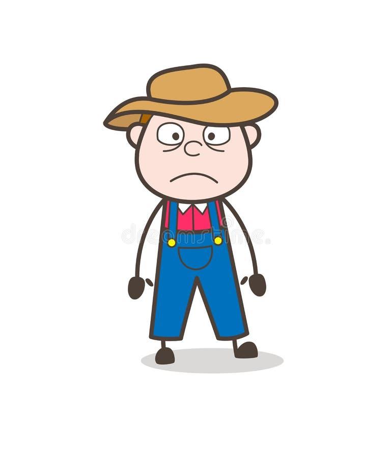 Vetor de Astonished Face Expression do fazendeiro dos desenhos animados ilustração stock