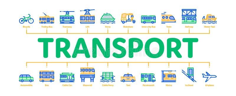 Vetor de banner de impressão mínimo para transporte público ilustração stock