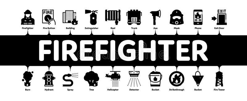 Vetor de Banner Infográfico Mínimo do Equipamento de Bombeiro ilustração royalty free
