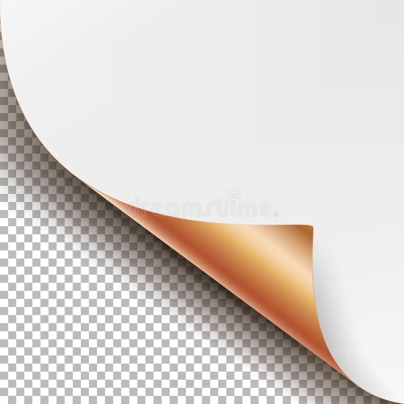 Vetor de canto metálico ondulado O papel realístico com zombaria macia da sombra fecha-se acima acima do isolado ilustração royalty free