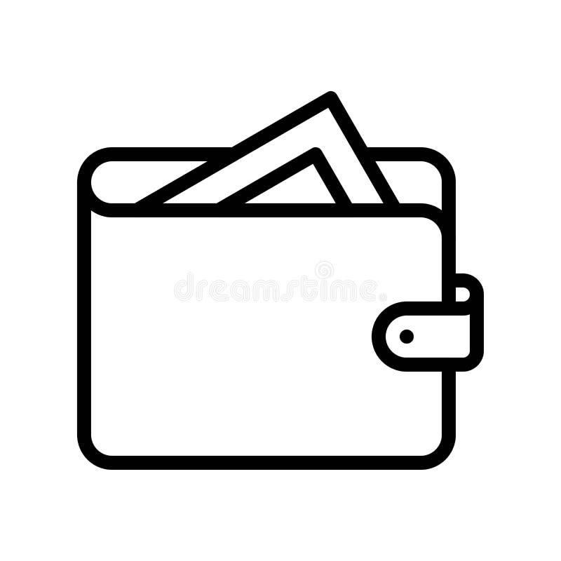 Vetor de carteira, ícone de linha de marketing digital traçado editável ilustração do vetor
