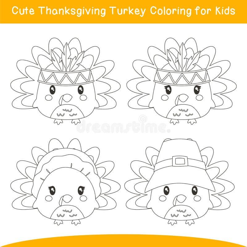 Vetor de Cartoon de Página de Ação de Graças para a Turquia ilustração stock