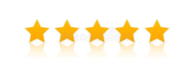 vetor de cinco estrelas do ícone da avaliação O voto da taxa gosta de classificar o símbolo ilustração do vetor