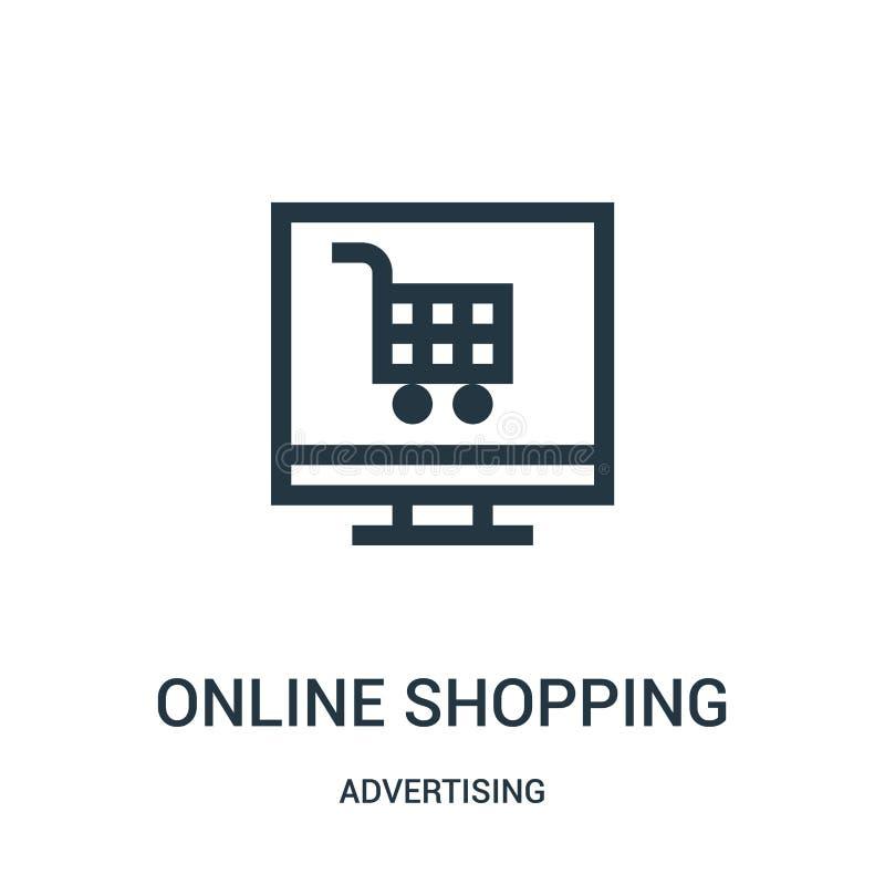 vetor de compra em linha do ícone de anunciar a coleção Linha fina ilustração de compra em linha do vetor do ícone do esboço ilustração stock