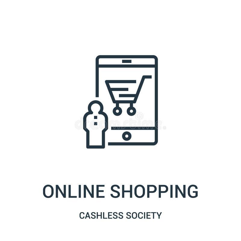 vetor de compra em linha do ícone da coleção cashless da sociedade Linha fina ilustração de compra em linha do vetor do ícone do  ilustração royalty free