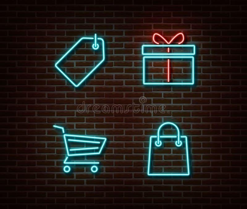 Vetor de compra de néon dos sinais isolado na parede de tijolo Cartão do desconto, carro, presente, símbolo da luz do saco da loj ilustração royalty free