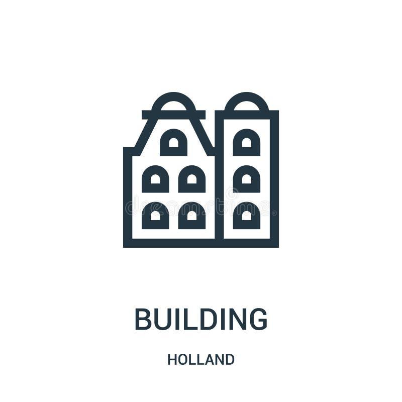 vetor de construção do ícone da coleção de holland Linha fina ilustração do vetor do ícone do esboço da construção Símbolo linear ilustração do vetor