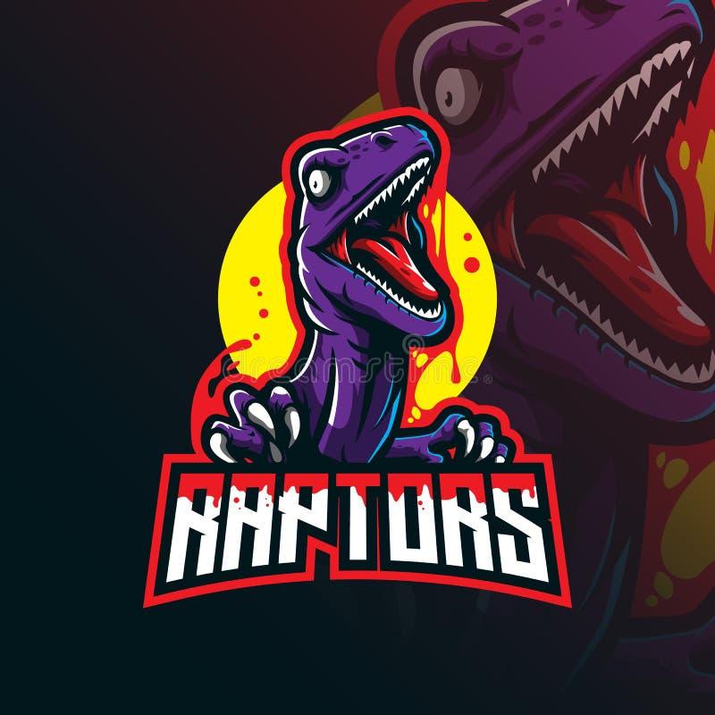 Vetor de design do logotipo do mascote do raptor com estilo moderno de ilustração para impressão de emblema, emblema e camiseta v ilustração do vetor