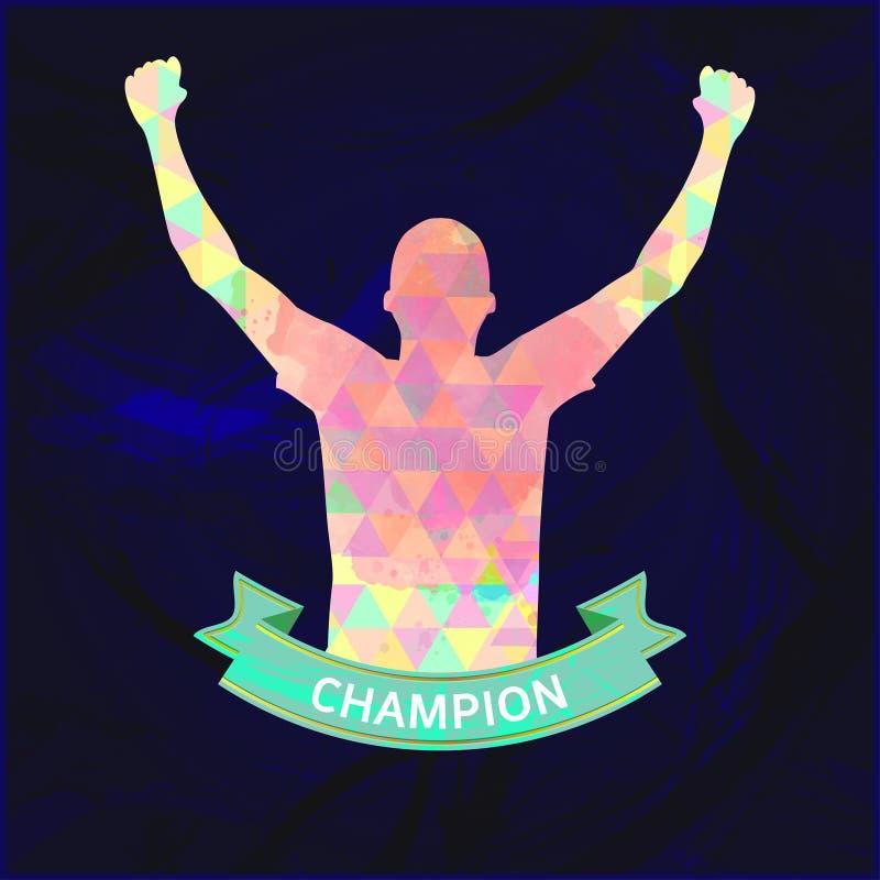 Vetor de Digitas, campeão abstrato do sportman do vencedor ilustração stock
