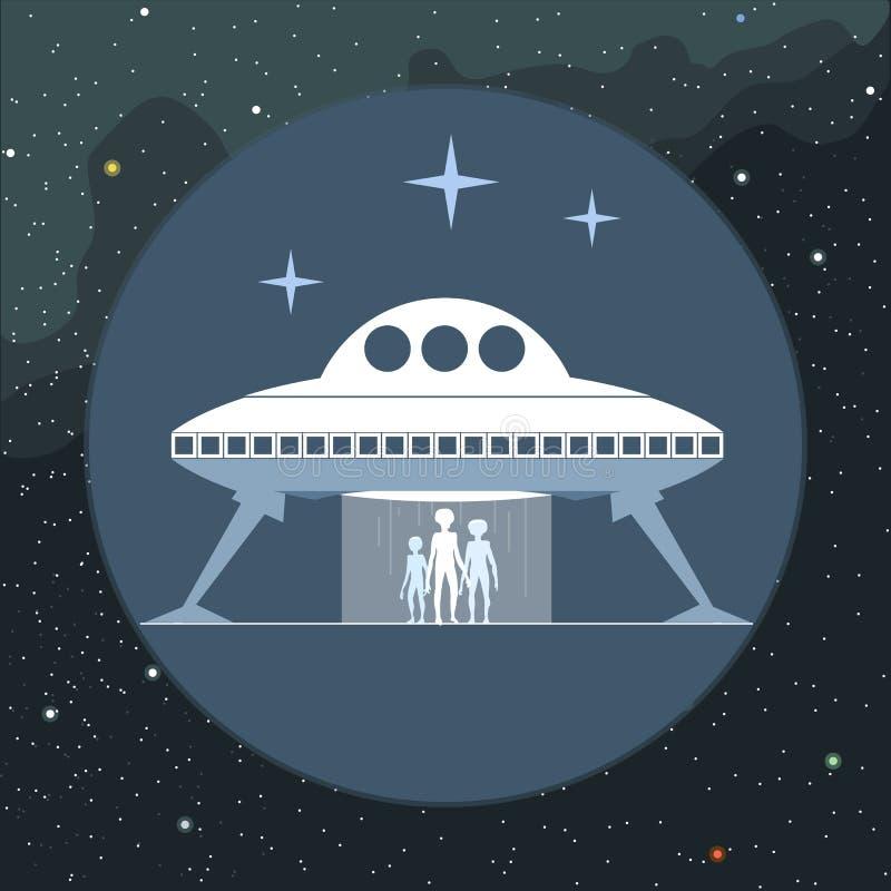 Vetor de Digitas com o estrangeiro que vem de um navio de espaço ilustração do vetor