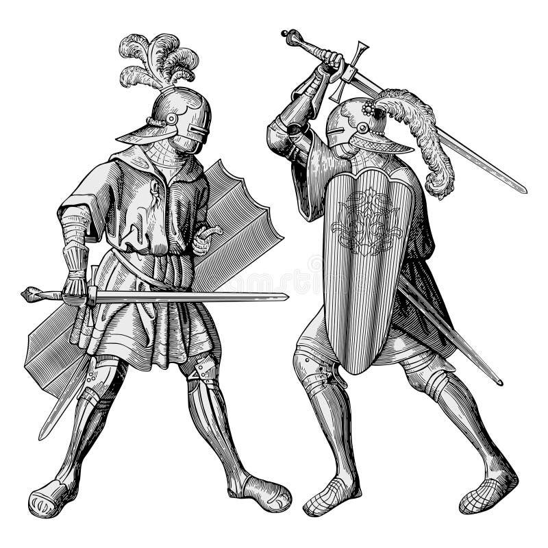 Vetor de dois cavaleiros ilustração stock