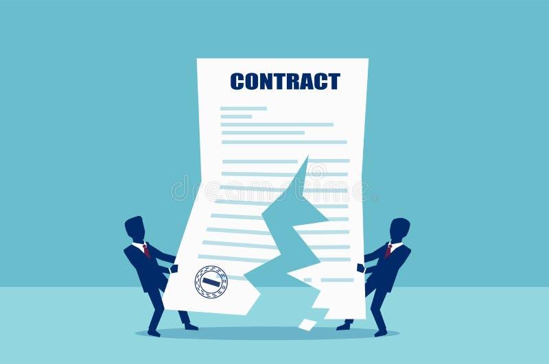Vetor de dois homens de negócio que rasgam no meio acordo de contrato ilustração do vetor