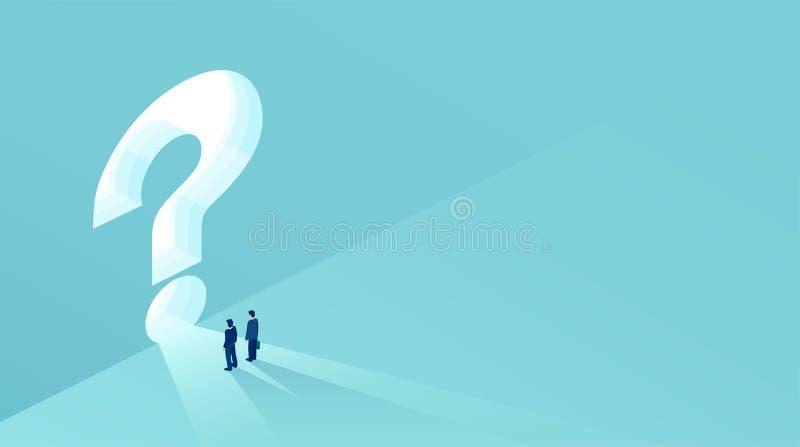 Vetor de dois homens de negócios que estão na frente de um buraco da fechadura dado forma como um ponto de interrogação ilustração stock